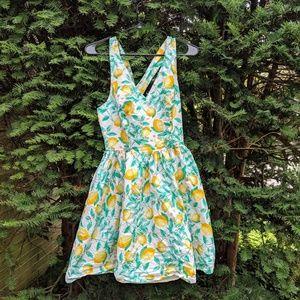 Elle Fit & Flare V-neck Sleeveless Lemon Dress